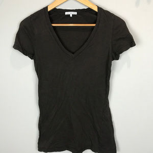Women's Brown V neck James Perse T shirt
